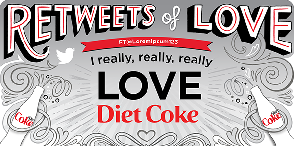 'Retweets of Love' illustrated by Kate Forrester for Diet Coke!