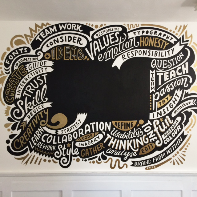 A beautiful typographical mural by Kate Forrester