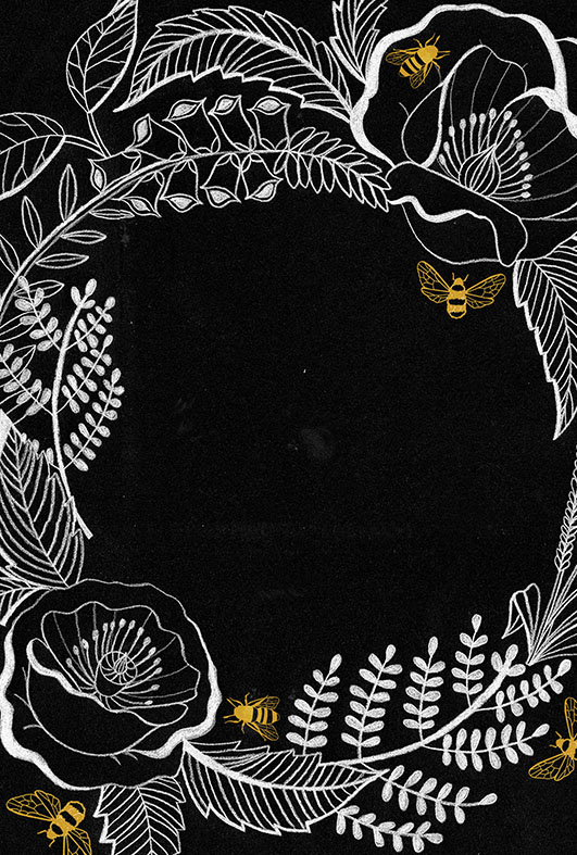 A beautiful bee themed book cover by Lindsey Spinks