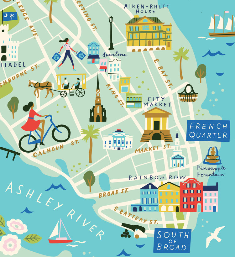 Lucy Davey's lovely maps for Spartina's accessories