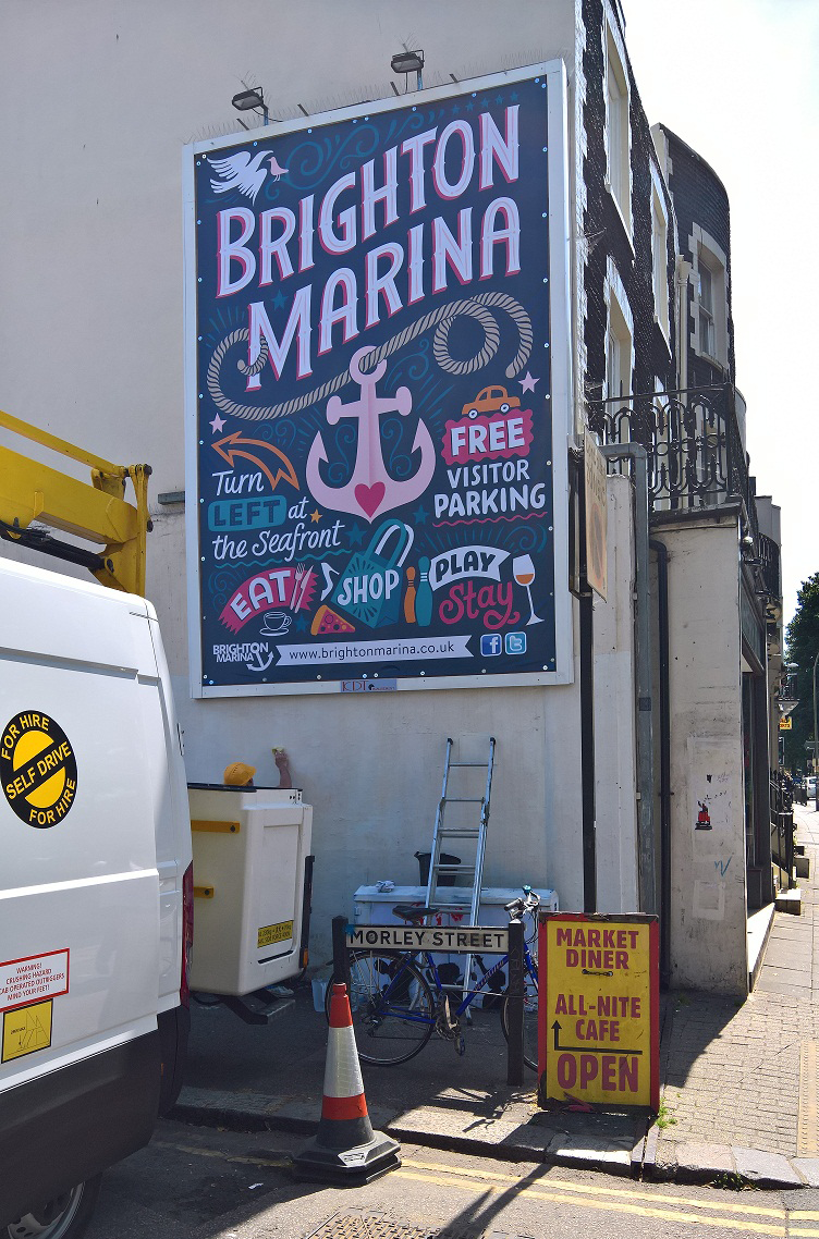 Kate Forrester's bright and beautiful billboard for Brighton Marina