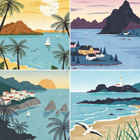Boats and beach scenes by Rachael Saunders