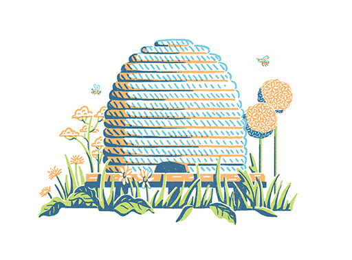James Weston Lewis' charming new Illustrations for 'Planting for Honeybees'