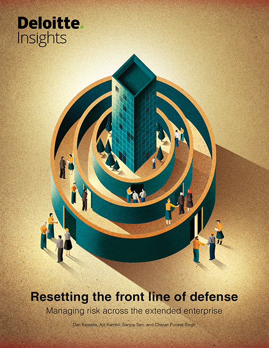 Jesús Sotés was asked by Deloitte Insights to create an illustration about different defence systems for businesses