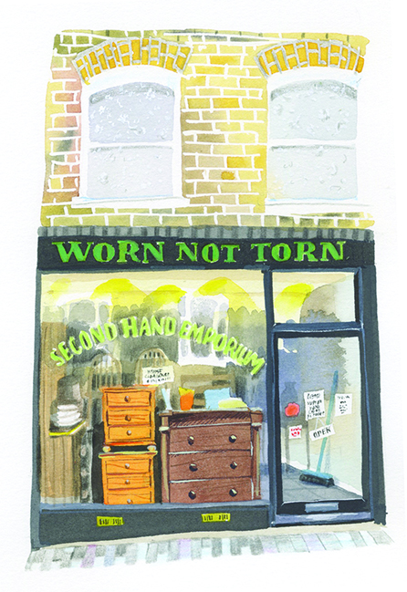 Mary Woodin illustrates a series of shop fronts in Peckham