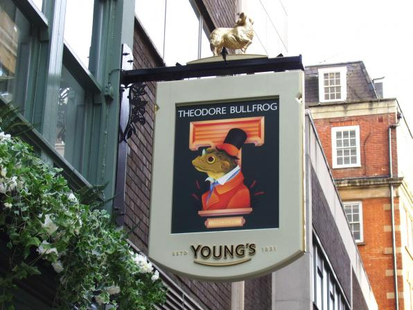 Catherine Pearson brings Mr. Theodore Bullfrog to life for Youngs Beer