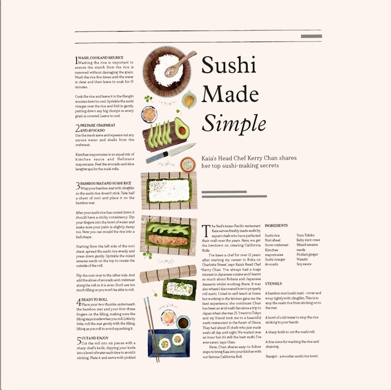 Hannah Bailey illustrates a sushi feast for the eyes in The Ned.