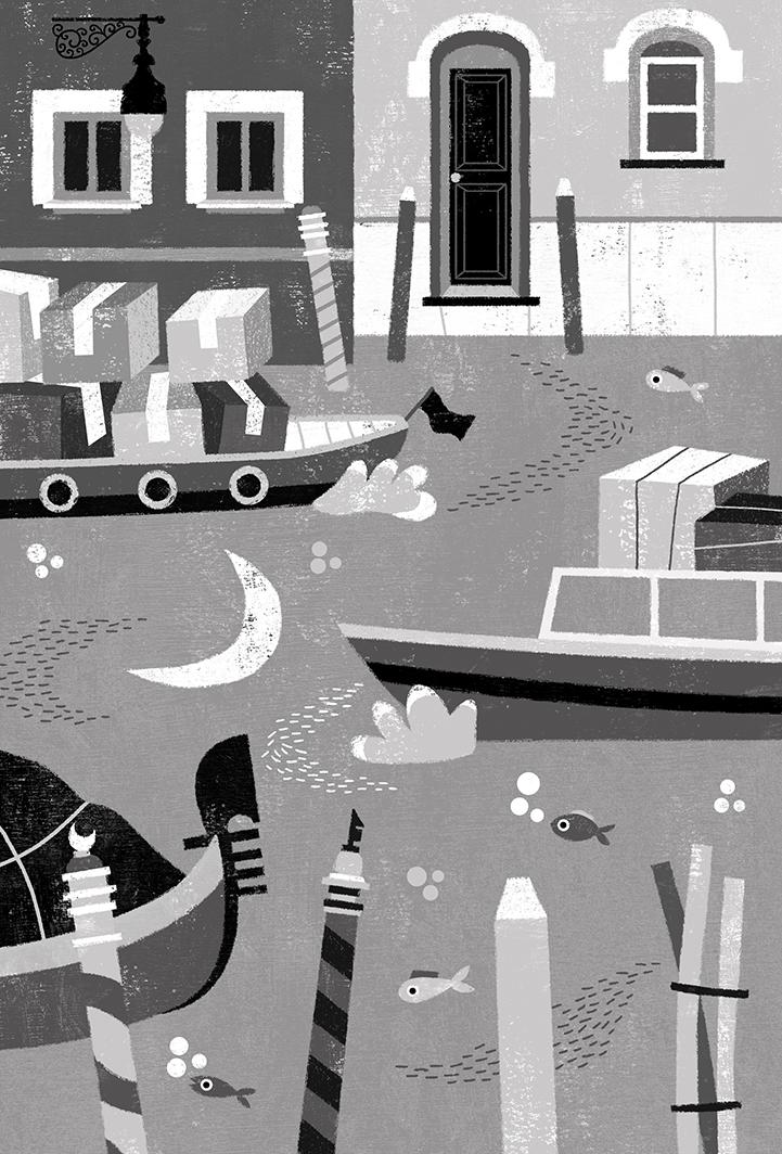 Dalia Adillon illustrates Venice for 'Acqua Alta', a new children's book about climate change!