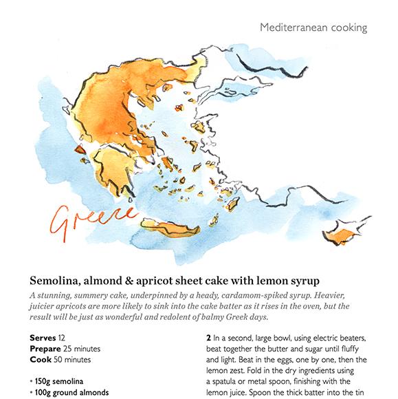 Heather Gatley illustrates a food tour of the Mediterranean for Waitrose Magazine.