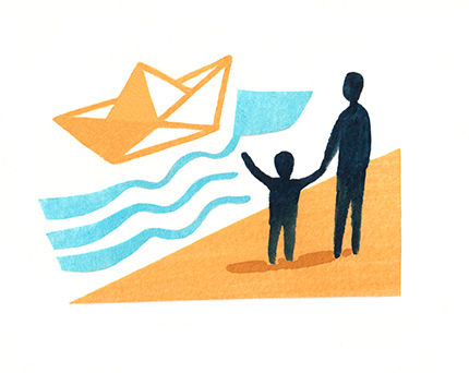 Sarah McMenemy illustrates icons to promote The Naval Children's Charity.